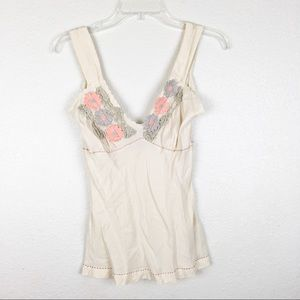 Free People 100% Silk Embroidered Cami Top